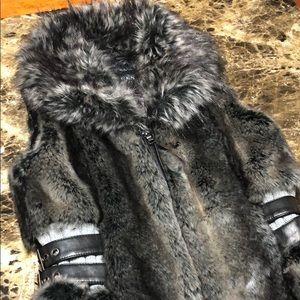 Guess Faux Fur and Faux Leather Vest